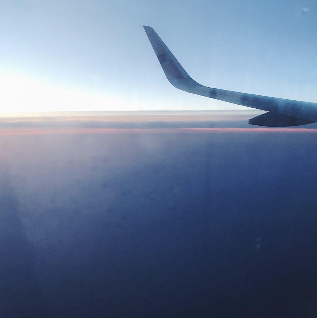asfințitul din avion